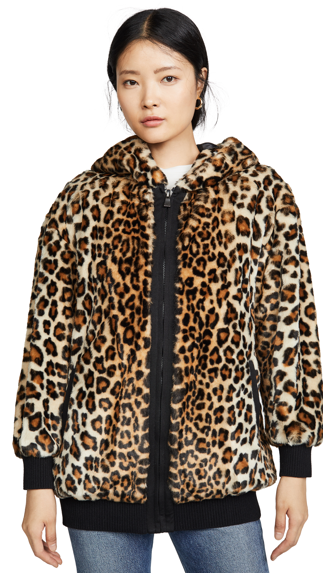 Buy Boutique Moschino online - photo of Boutique Moschino Leopard Print Hooded Jacket