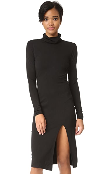 bobi Slit Turtleneck Dress