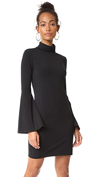 bobi Flare Sleeve Dress - Black