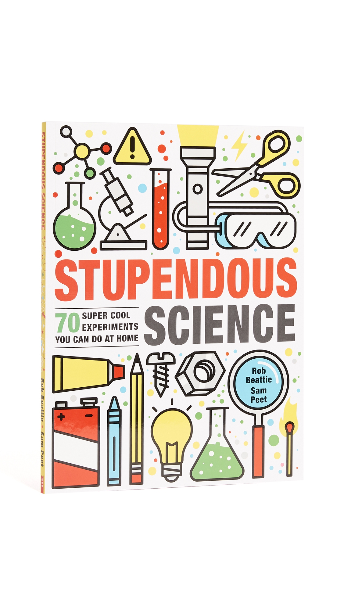Packed with quick, achievable, and fun experiments that can be performed at home and with basic ingredients and equipment, this book of 70 experiments will entertain budding scientists for hours as they learn lessons in physics, chemistry, biology, and technology. Experiments include making a periscope, a smartphone projector, a lava lamp, and using salt to make ice cream. Imported, China. By Rob Beattie and Sam Peet. Paperback. 96 pages. Imprint: QEB Publishing. ISBN: 978-168972571 Measurements Width: 0.5in / 1cm Height: 11.75in / 30cm Length: 8.75in / 22.5cm