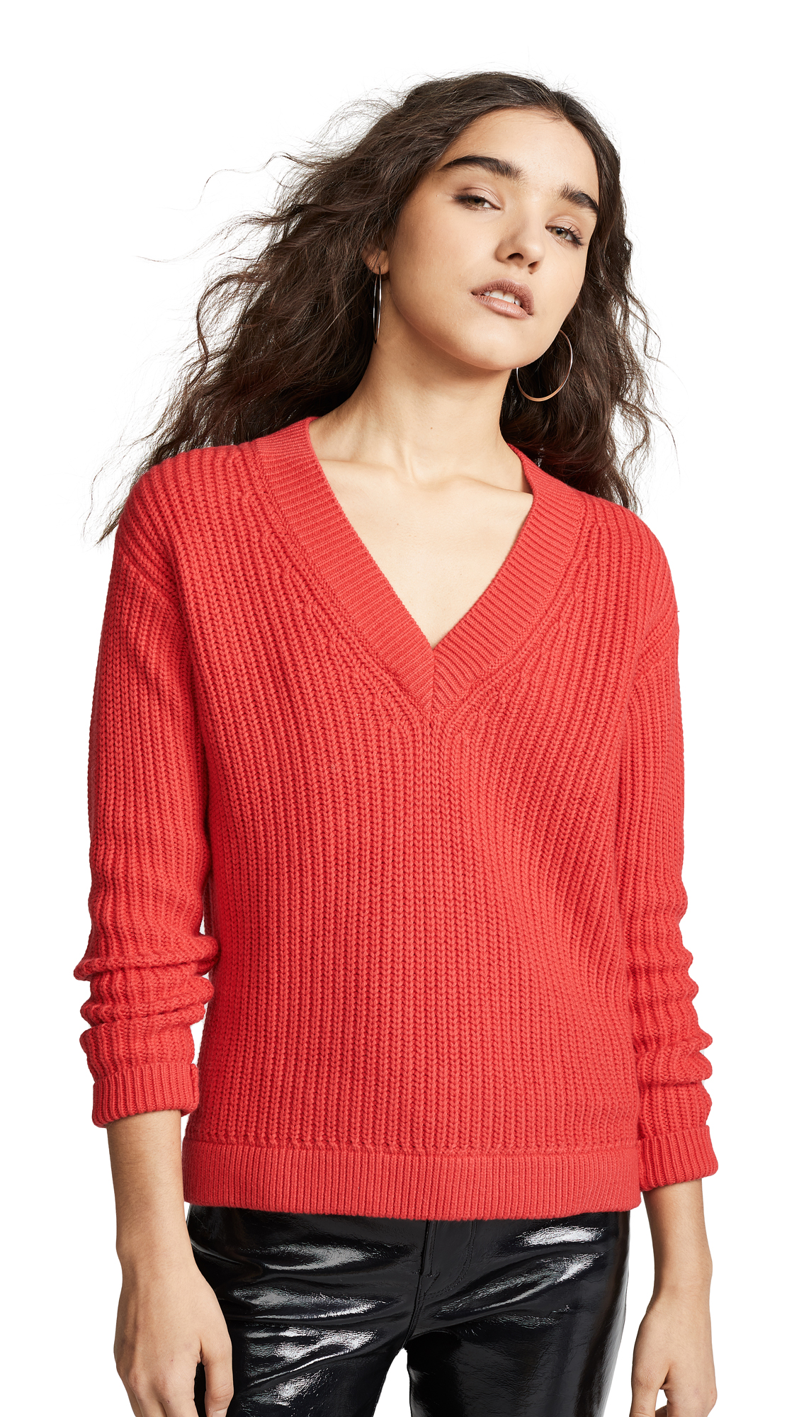 BOP BASICS Deep V Sweater in Tomato