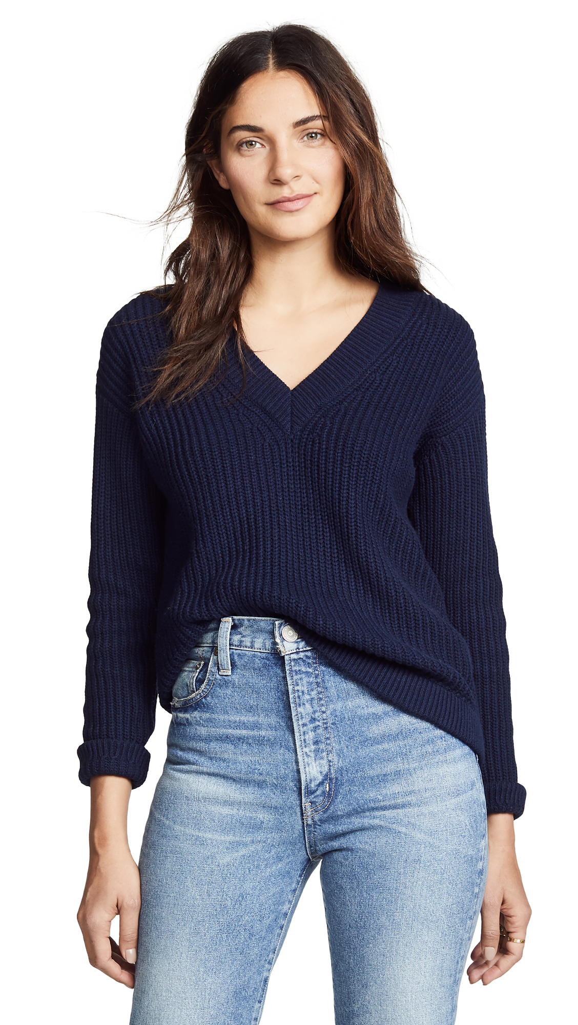 BOP BASICS Deep V Sweater in Dark Navy