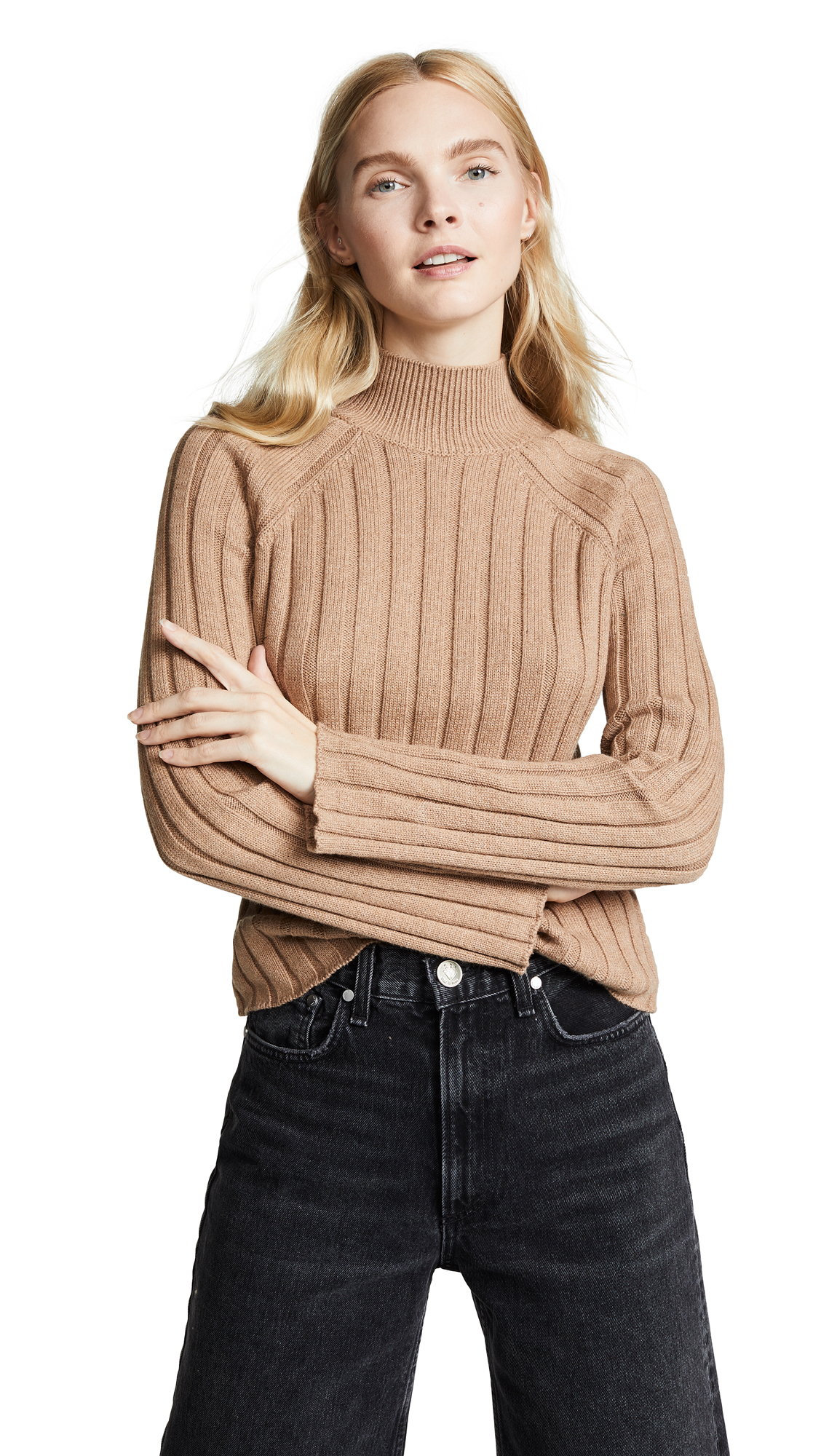 BOP BASICS Wide Rib Turtleneck Sweater in Camel