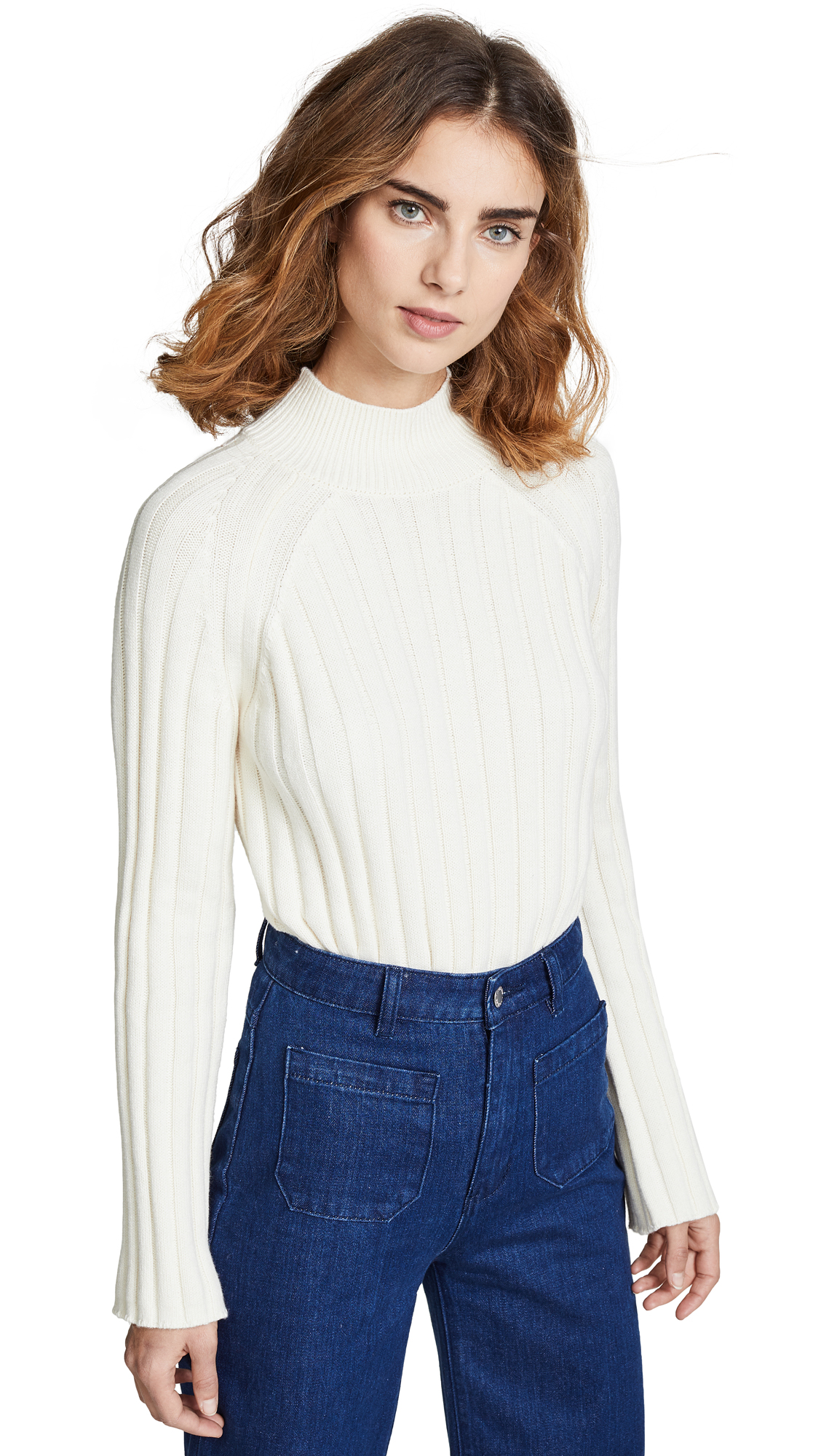 BOP BASICS Wide Rib Turtleneck Sweater in Winter White