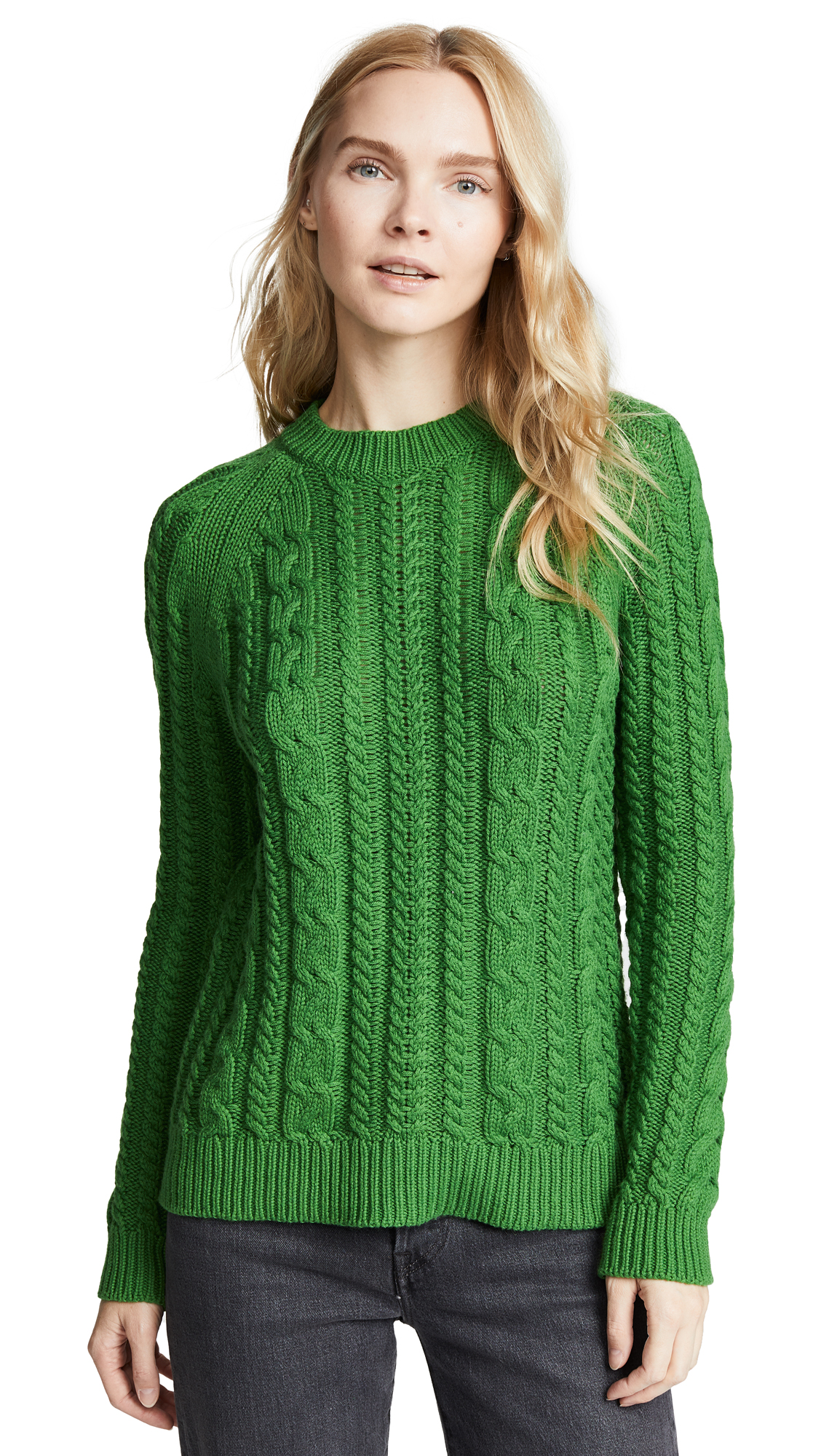 BOP BASICS Boxy Cable Knit Sweater in Kelly Green