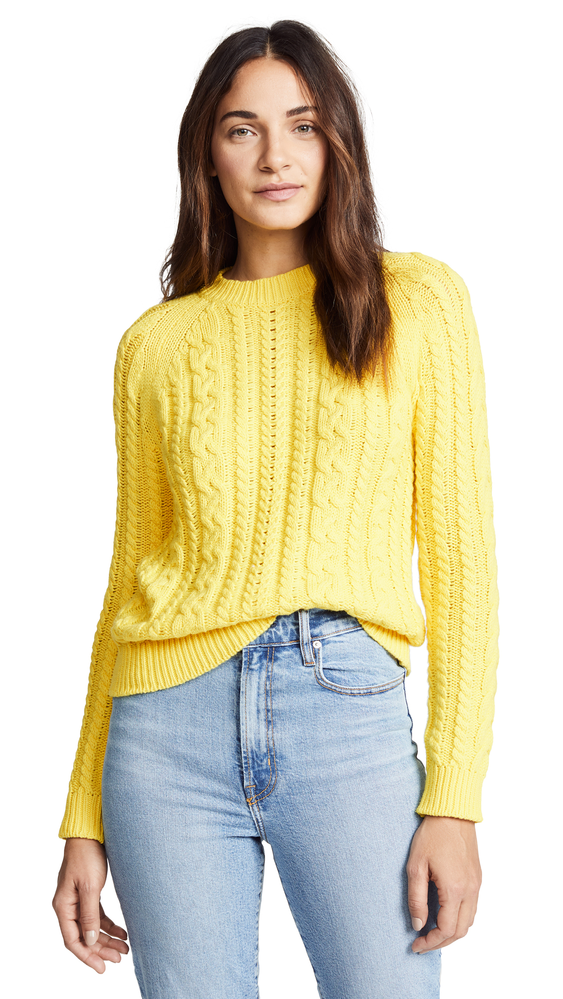 BOP BASICS Boxy Cable Knit Sweater in Bright Yellow