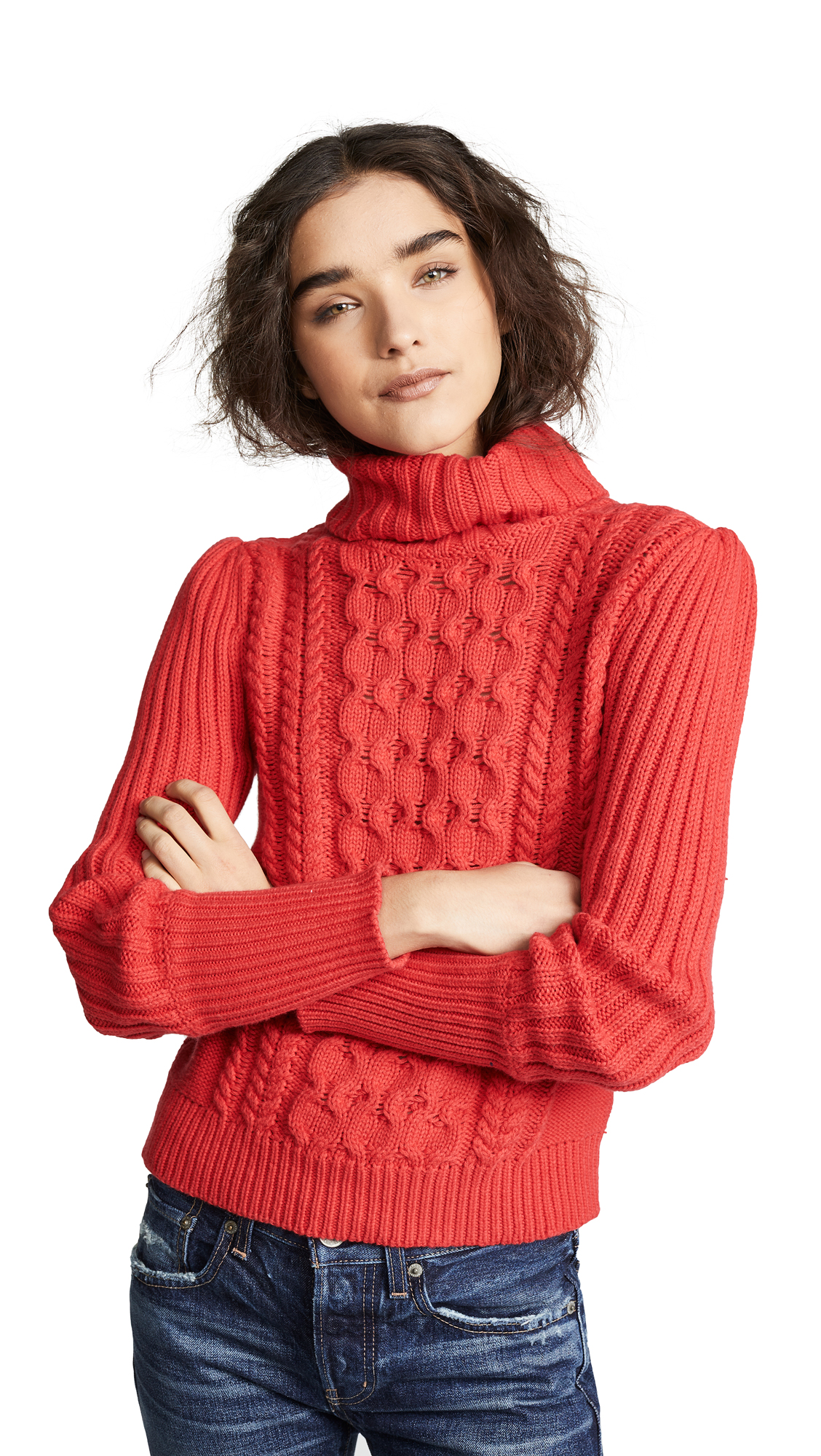 BOP BASICS Cable Knit Turtleneck Sweater in Tomato