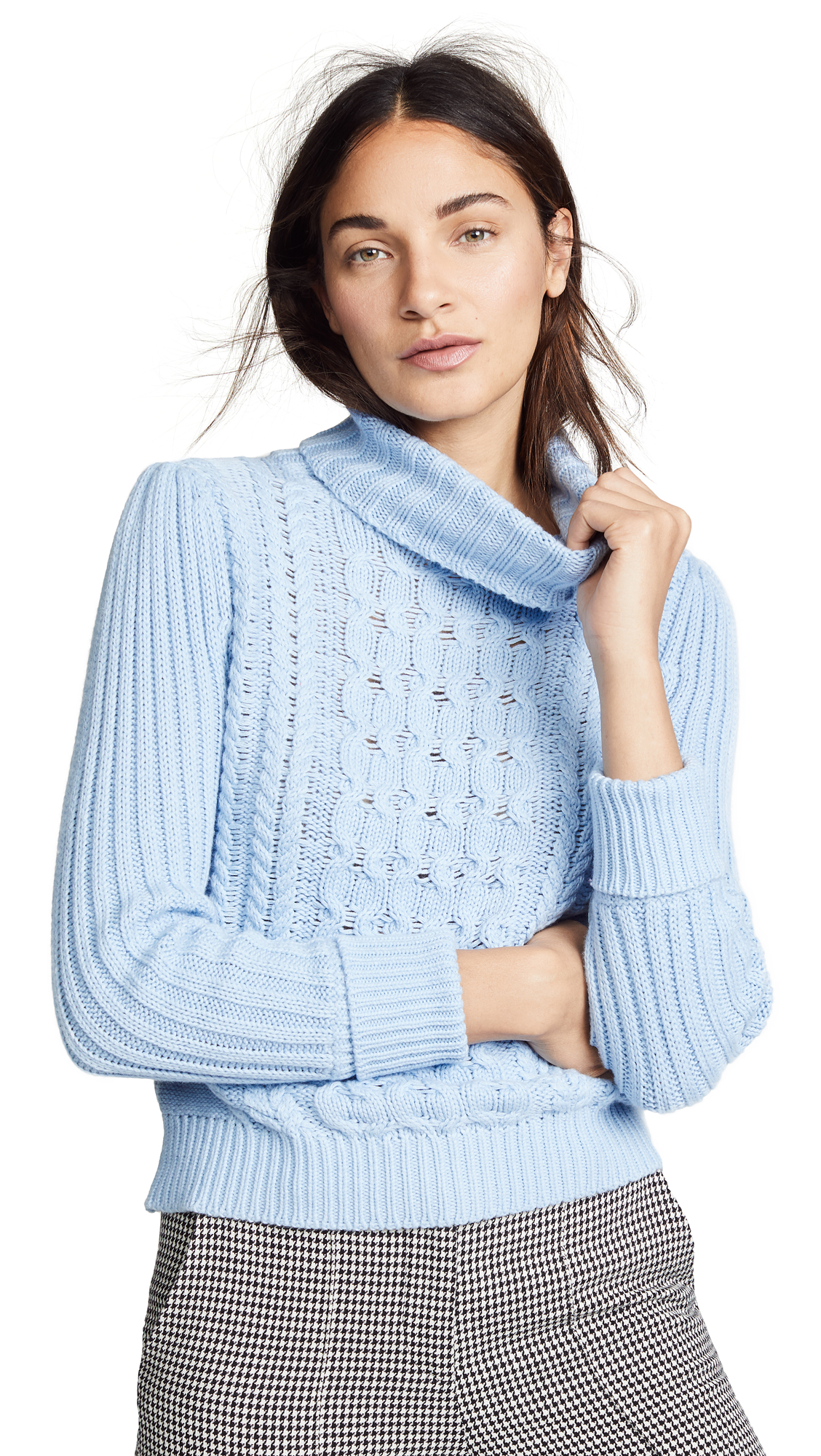 BOP BASICS Cable Knit Turtleneck Sweater in Icy Blue