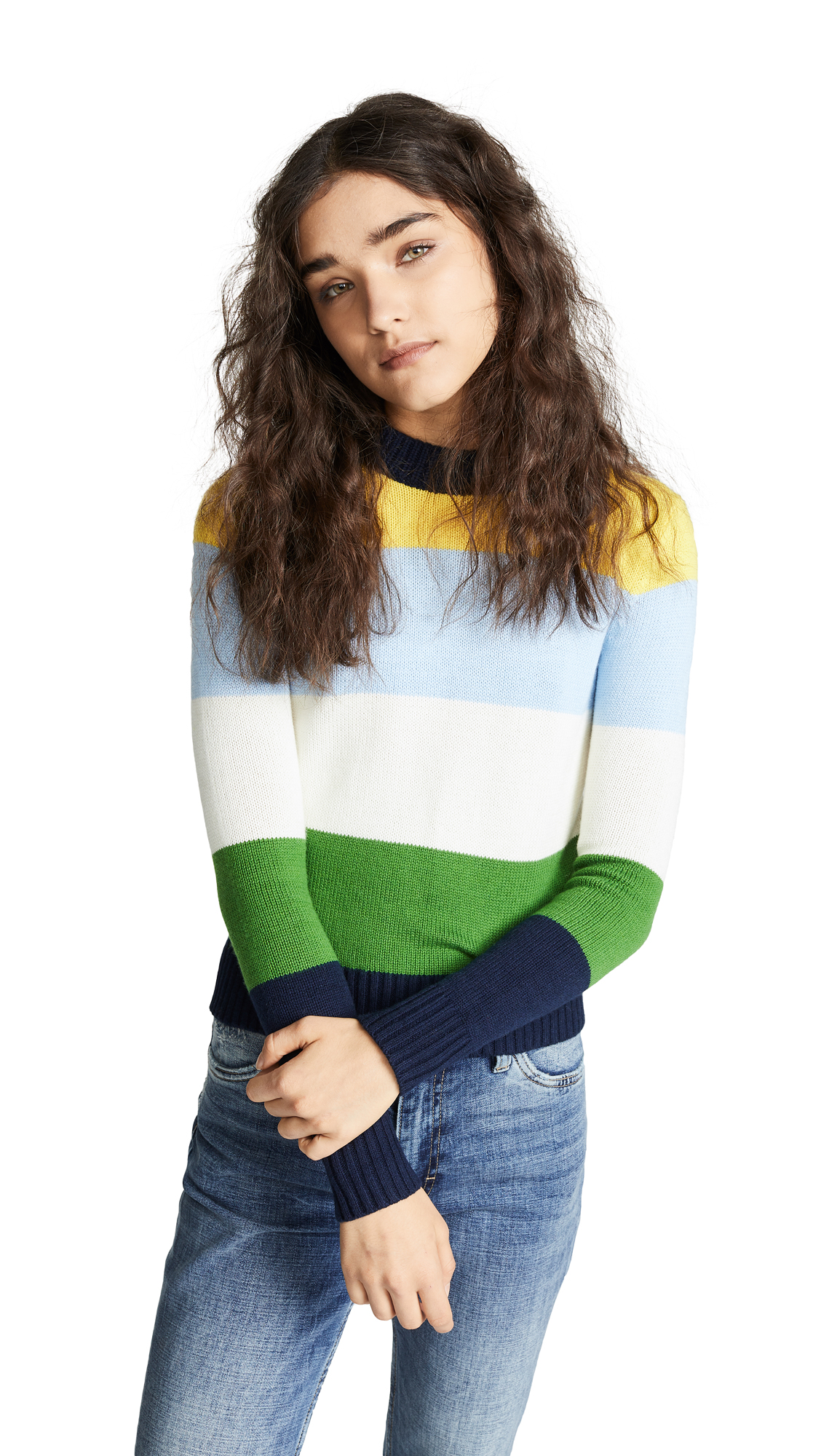 BOP BASICS Wide Stripe Roll Neck Sweater in Multi Stripe