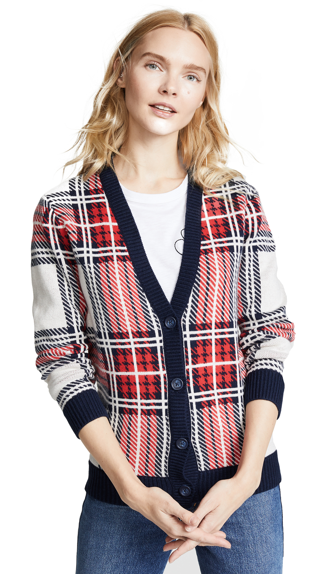 BOP BASICS Tartan Plaid Cardigan in Navy/Tomato Plaid