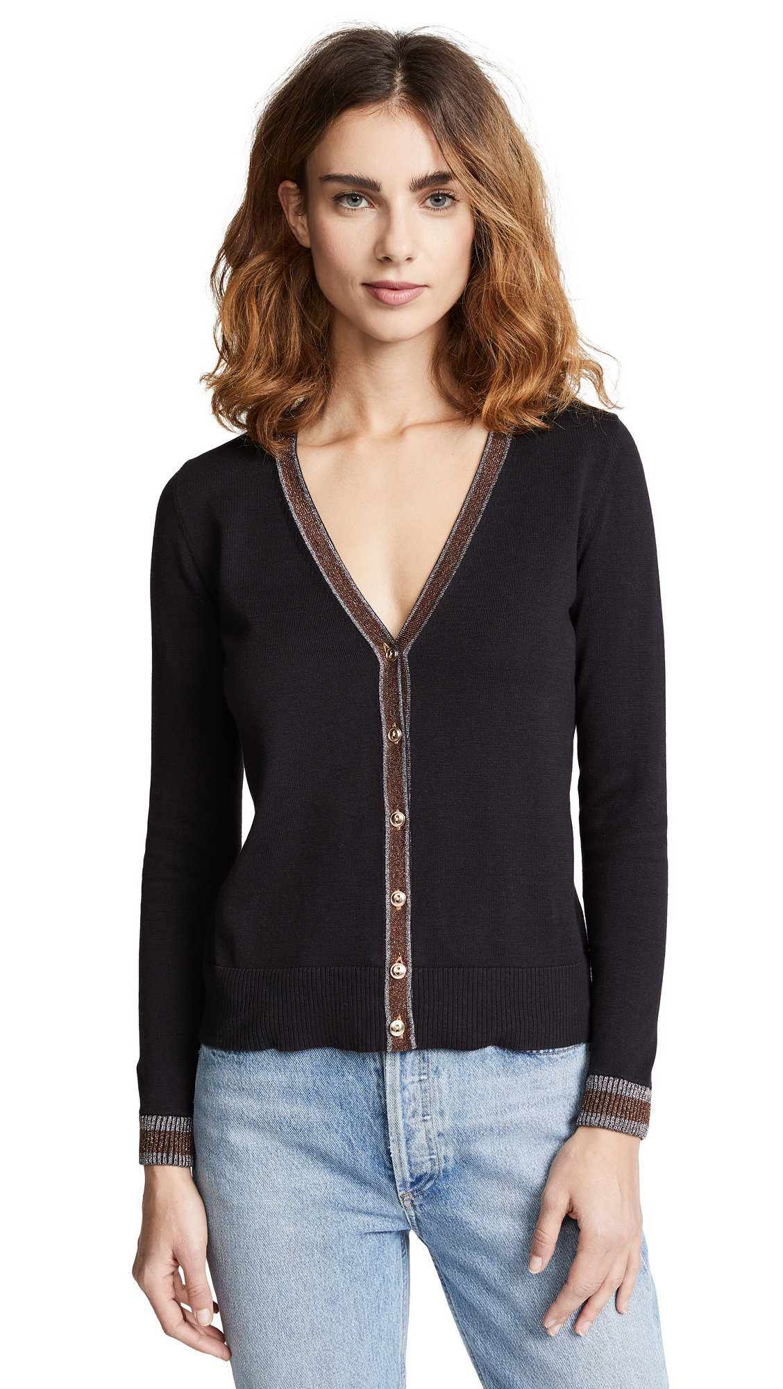 BOP BASICS Metallic Trim Cardigan in Black/Silver/Bronze