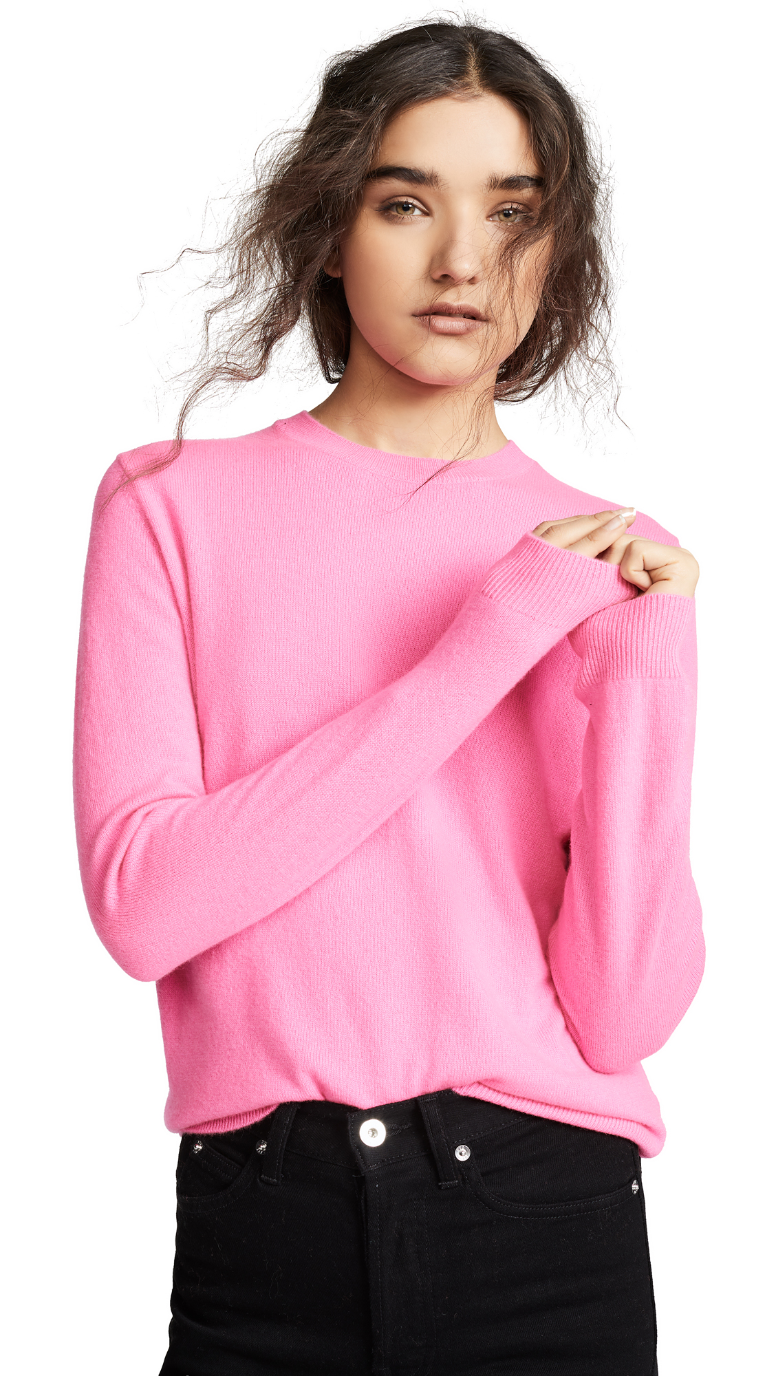BOP BASICS Cashmere Boxy Sweater in Hot Pink