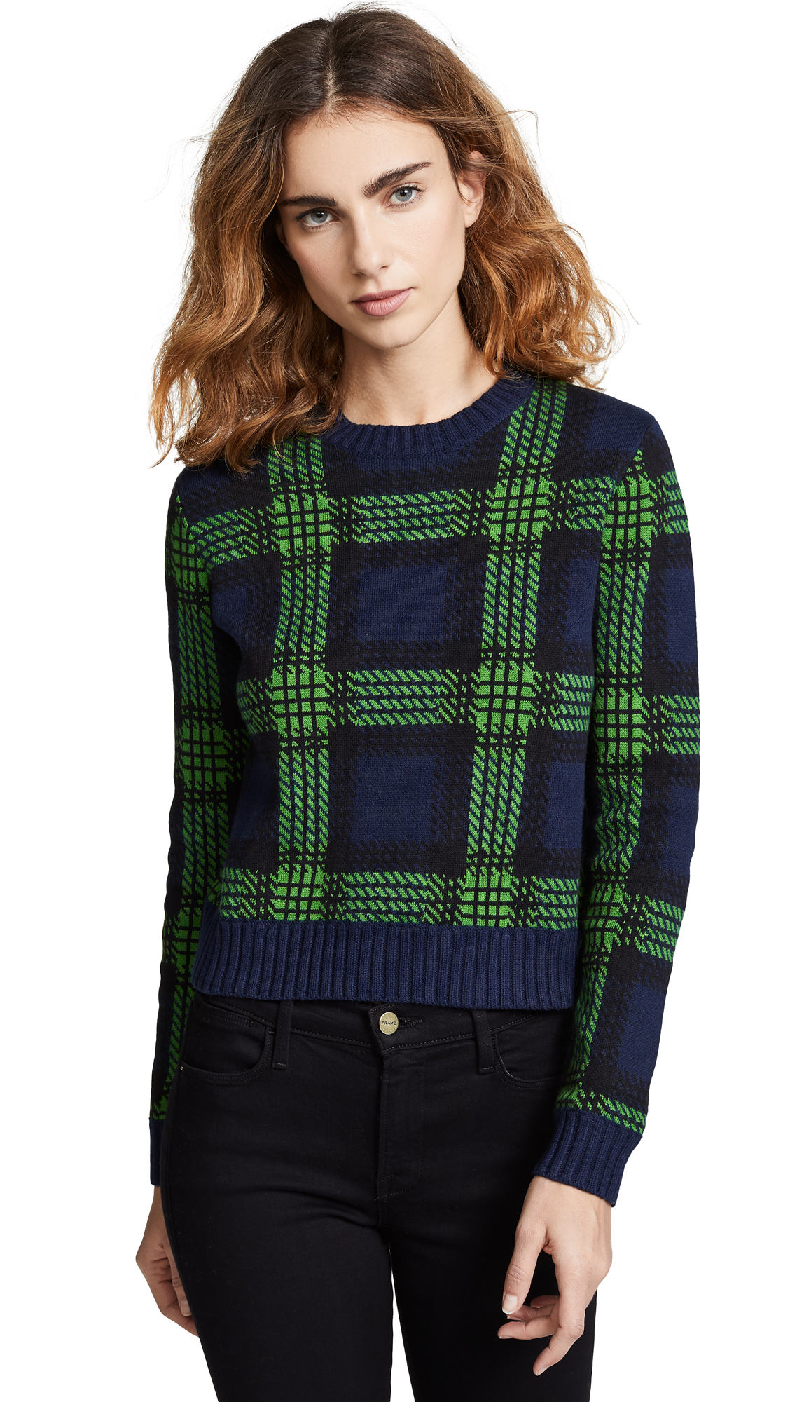 BOP BASICS Tartan Plaid Crew Neck Sweater in Navy/Green