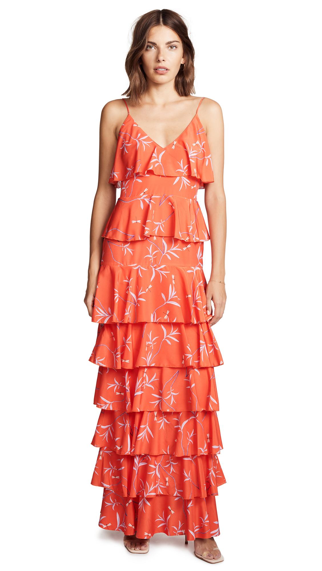 Borgo de Nor Filipa Ruffle Dress In Firefly/Red