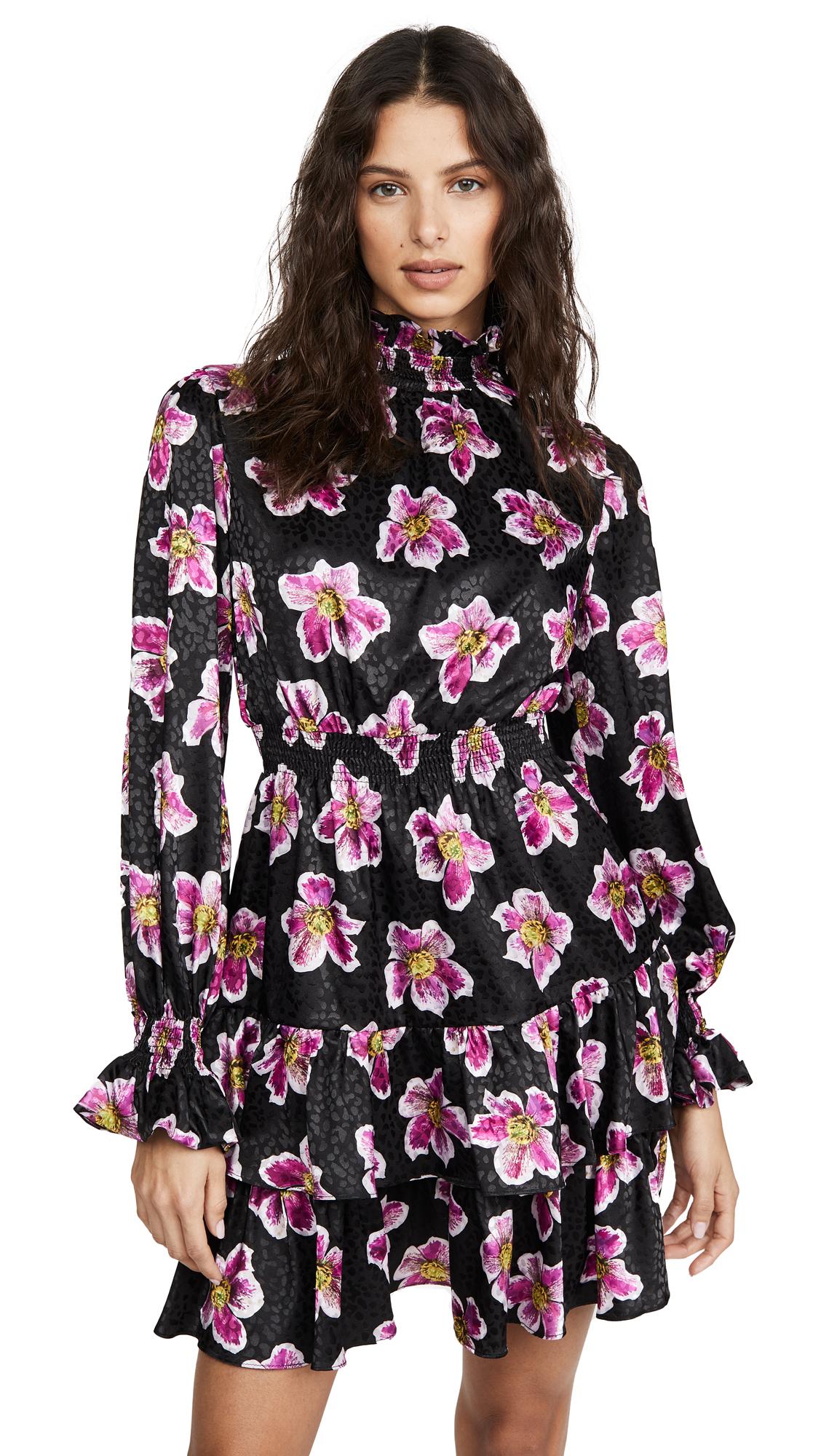 Buy Borgo de Nor online - photo of Borgo de Nor Yulia Satin Jacquard Winter Rose Dress