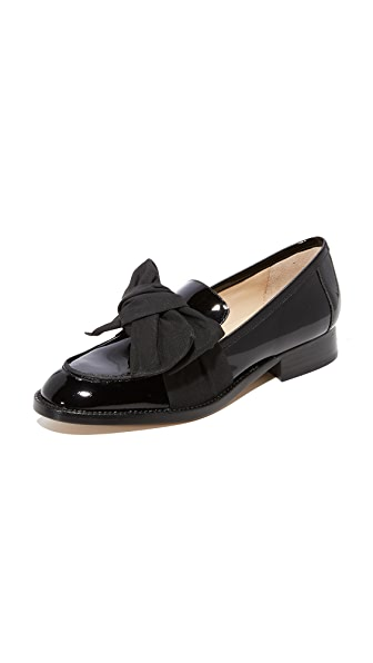 Botkier Violet Bow Loafers In Black