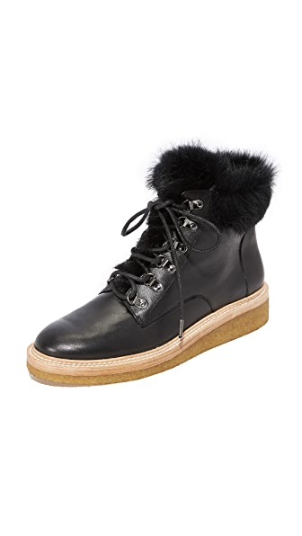 Botkier Winter Fur Hiker Boots In Black