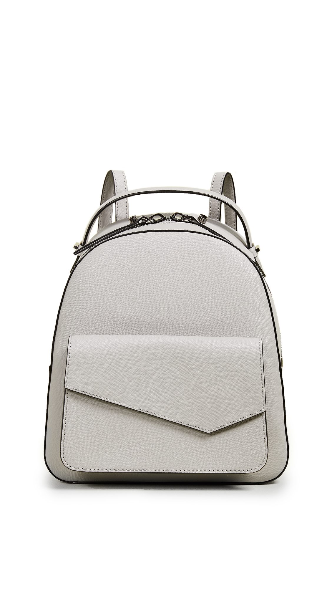 Cobble Hill Calfskin Leather Backpack - Grey, Silver Grey