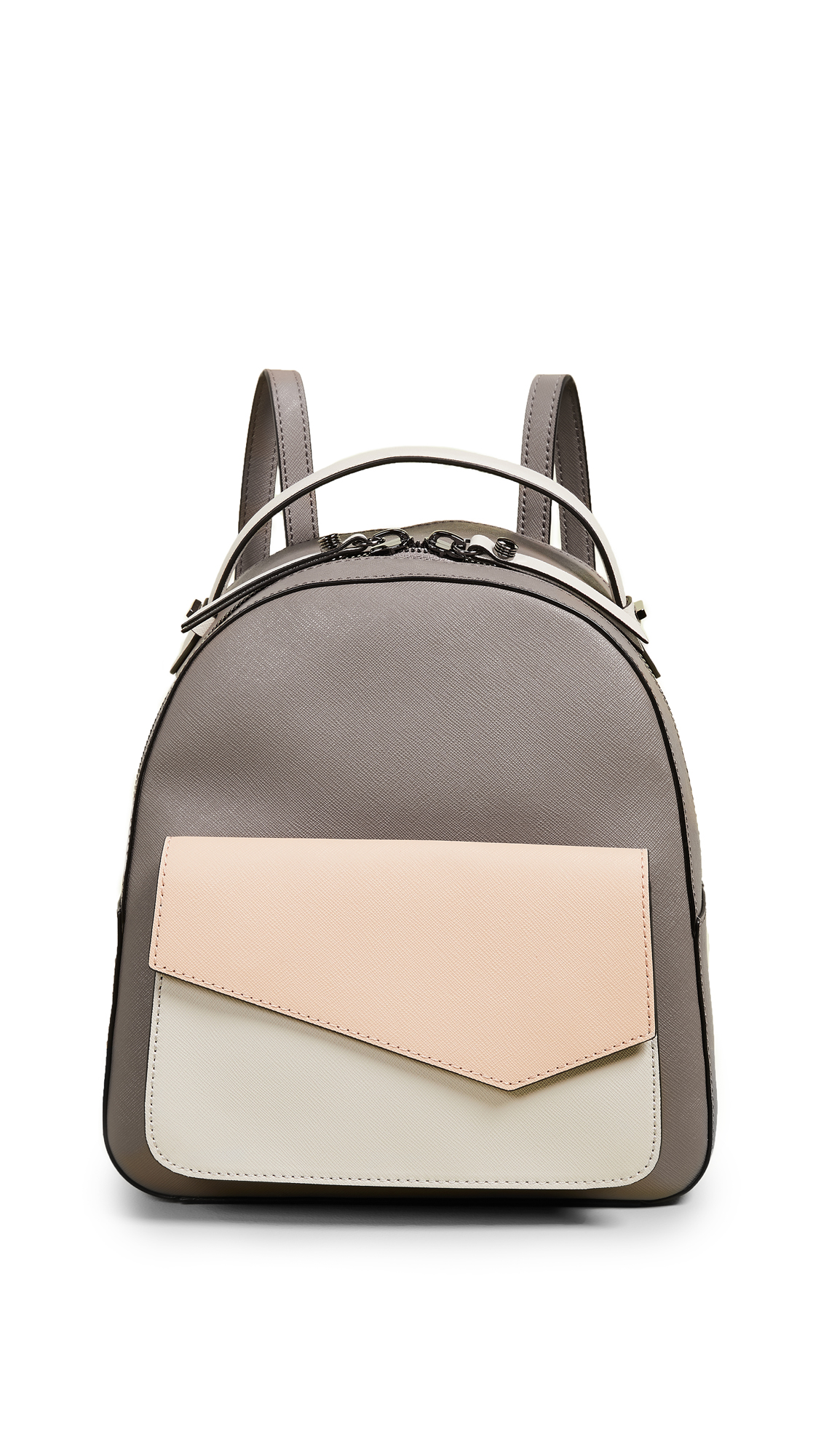 Cobble Hill Calfskin Leather Backpack - Coral, Nude Combo