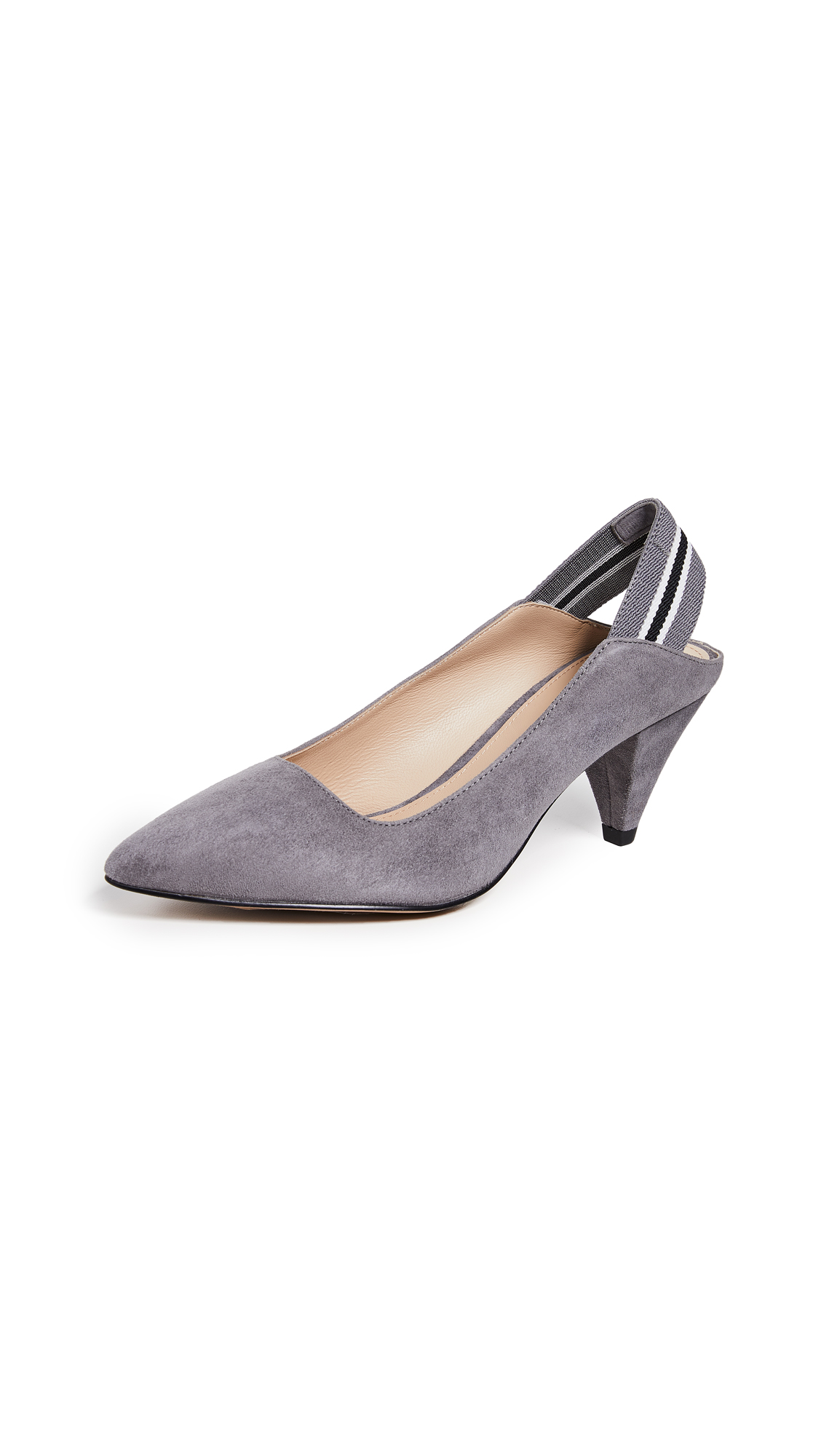 Women'S Cobble Hill Cone Heel Suede Slingback Pumps in French Grey