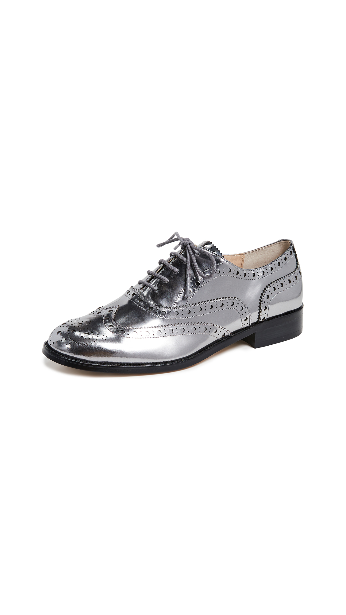Women'S Callista Metallic Wingtip Oxford Loafers in Pewter