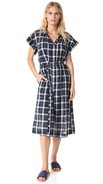 Birds of Paradis The Gillian Ruffle Sleeve Shirtdress In Navy, Green & White Plaid