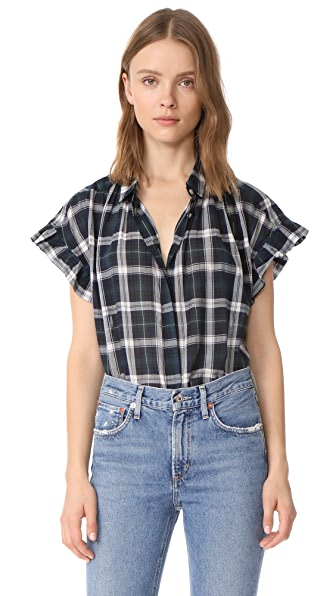 Birds of Paradis The Marianne Ruffle Sleeve Shirt In Navy, Green & White Plaid