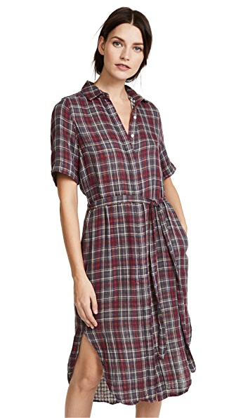 Birds of Paradis The Florence Shirtdress In Grey & Red Plaid