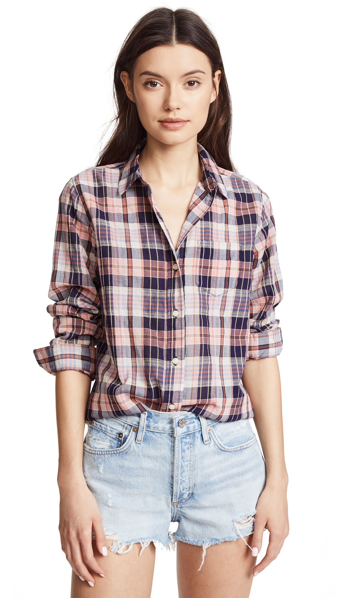 BIRDS OF PARADIS Grace Classic Shirt in Pink/Navy Plaid