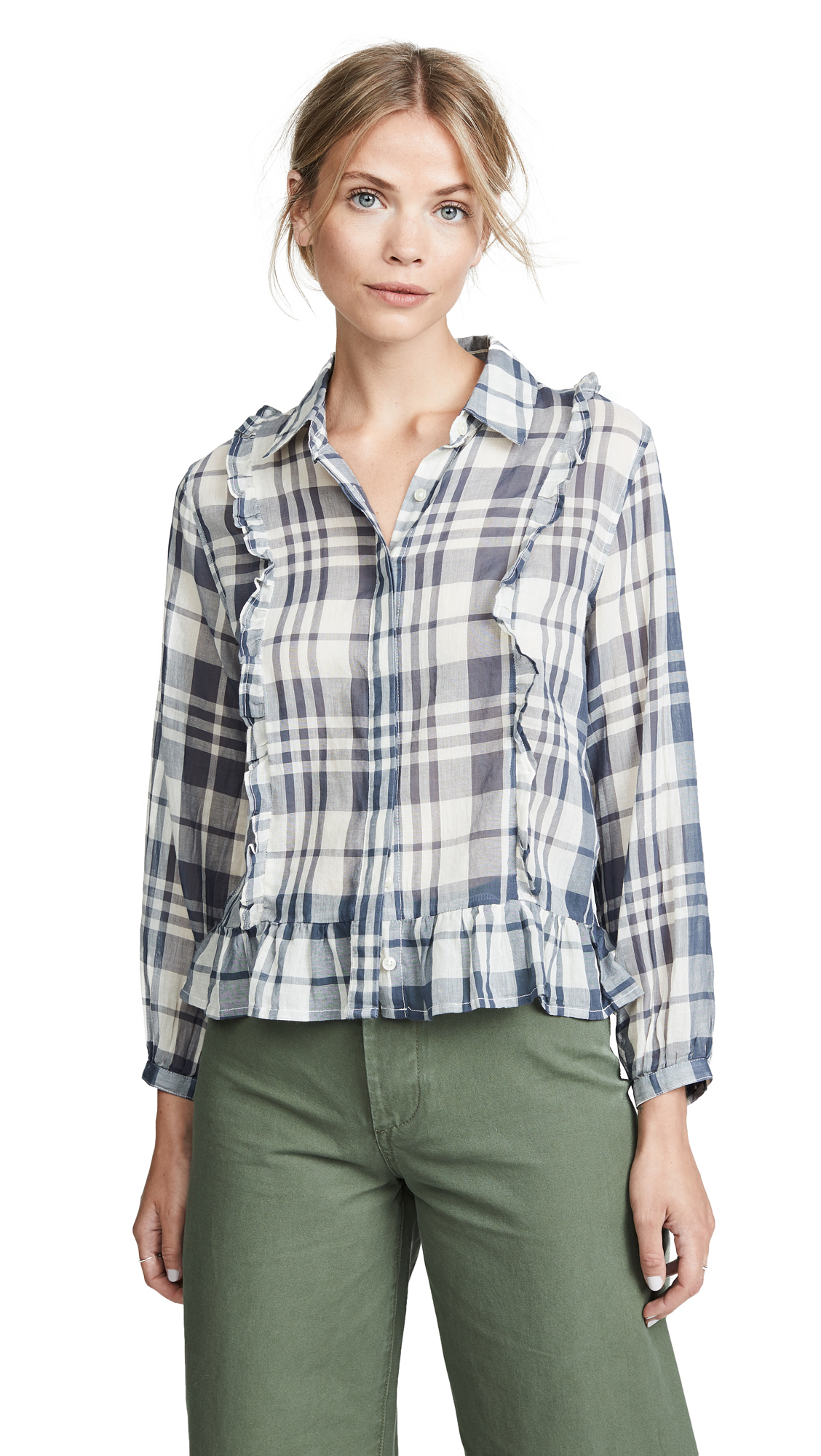 BIRDS OF PARADIS Alicia Victorian Blouse in Slate Plaid