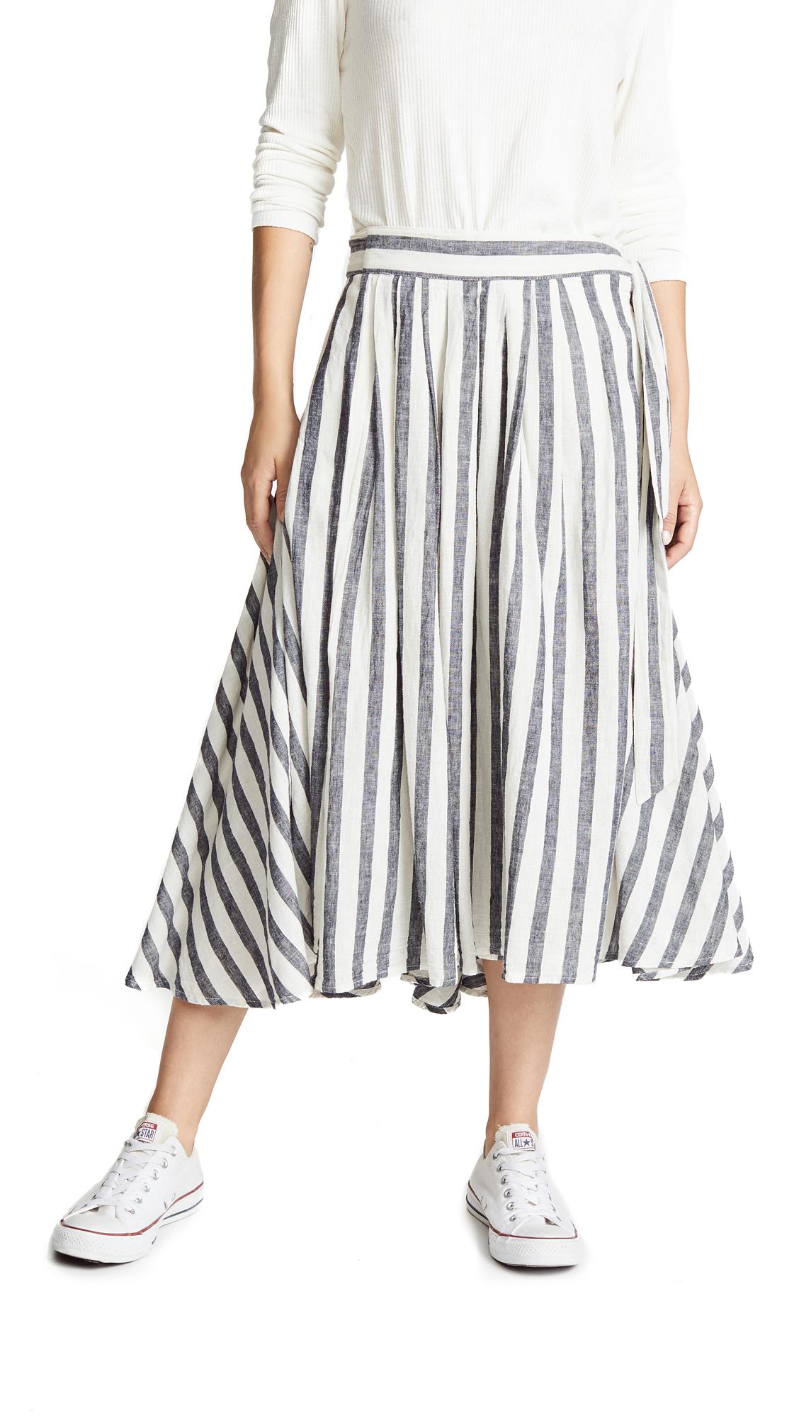 BIRDS OF PARADIS Jenna Wrap Skirt in Black/White Stripe
