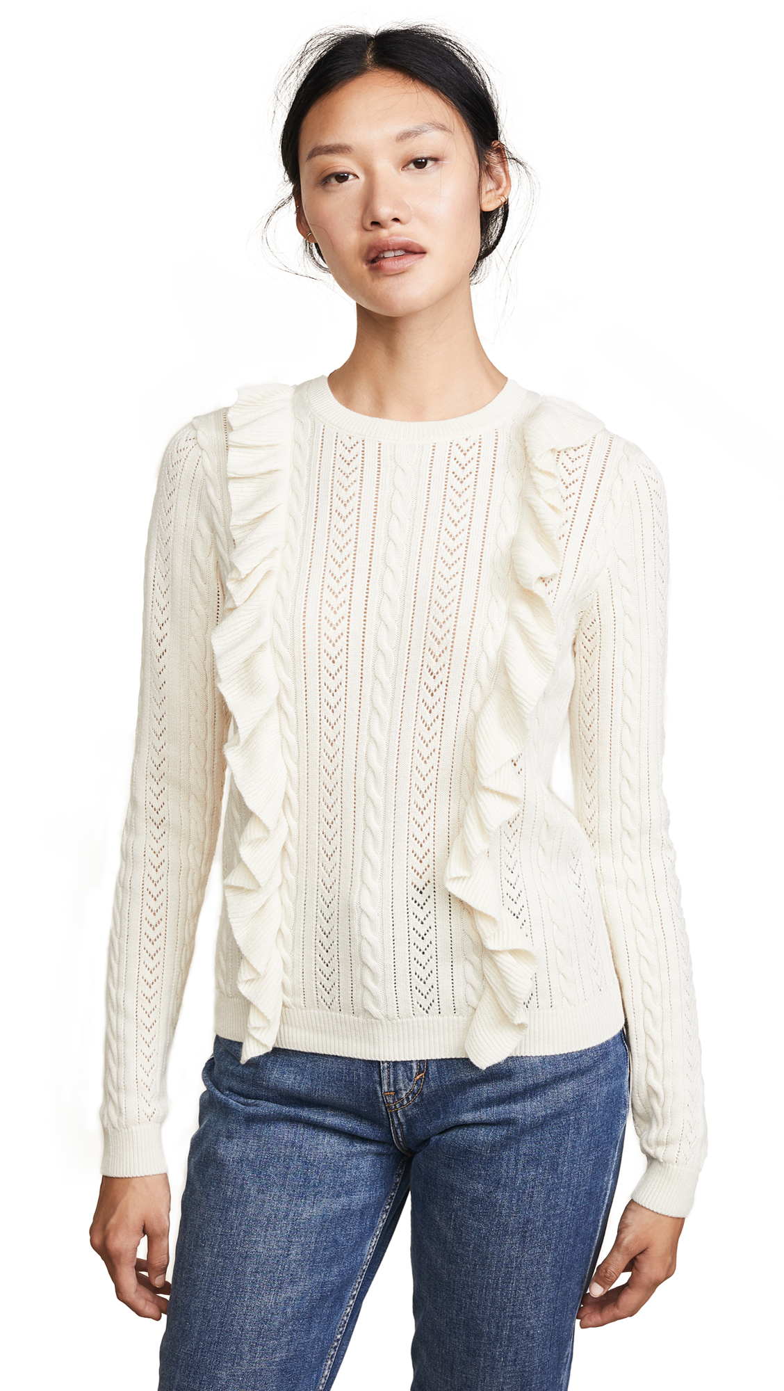 BIRDS OF PARADIS The Elise Ruffle Sweater in Antique White