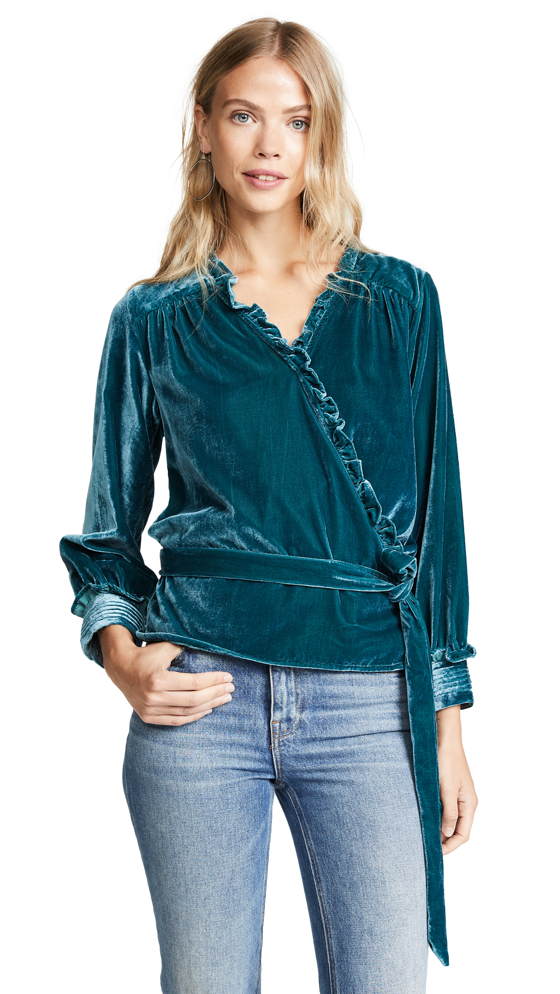 BIRDS OF PARADIS The Jessica Wrap Blouse in Pine