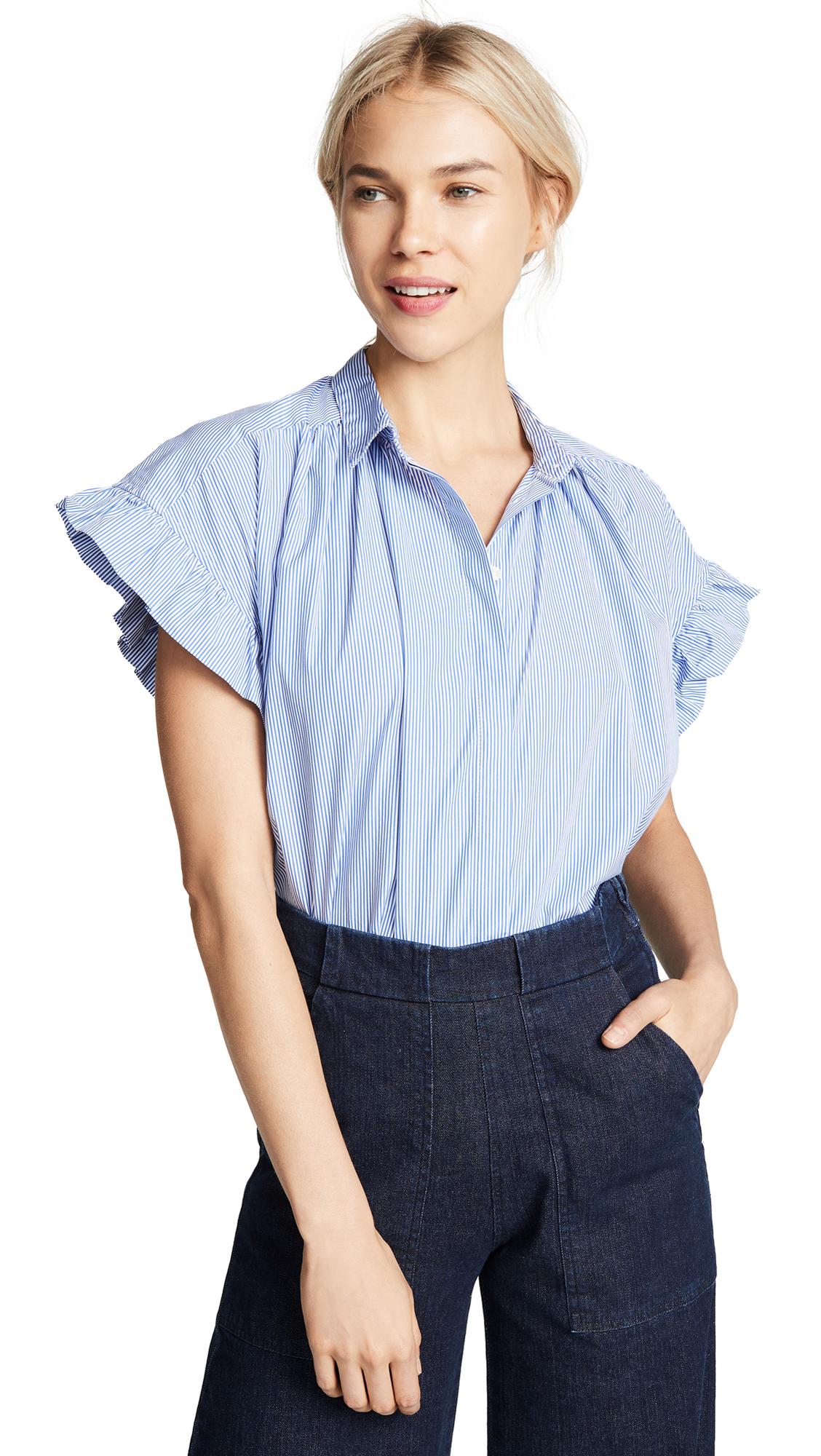 BIRDS OF PARADIS Marianne Ruffle Sleeve Shirt in Blue/White Stripe