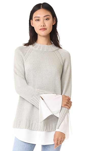 Brochu Walker Remi Layered Pullover - Dim Gray with White Underlayer