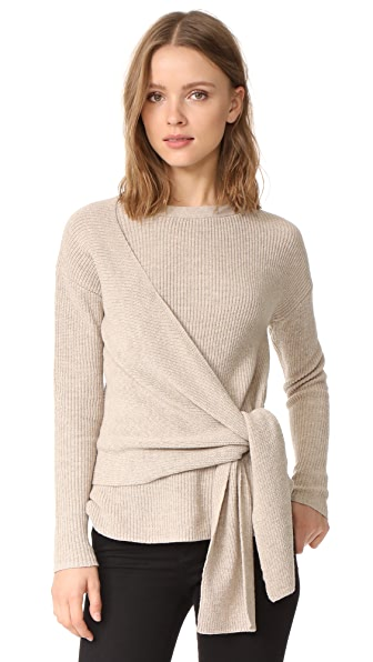 Brochu Walker Greys Wrap Sweater In Fawn Melange