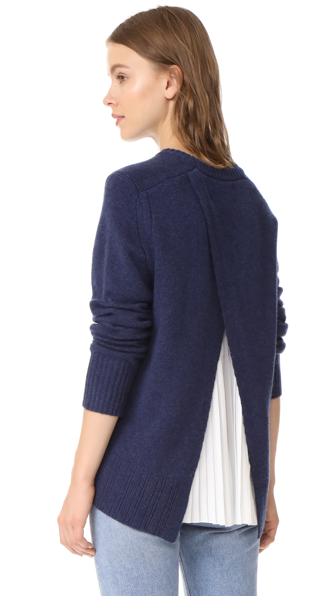 Brochu Walker Keller Layered Pullover - Indigo With White Underlay