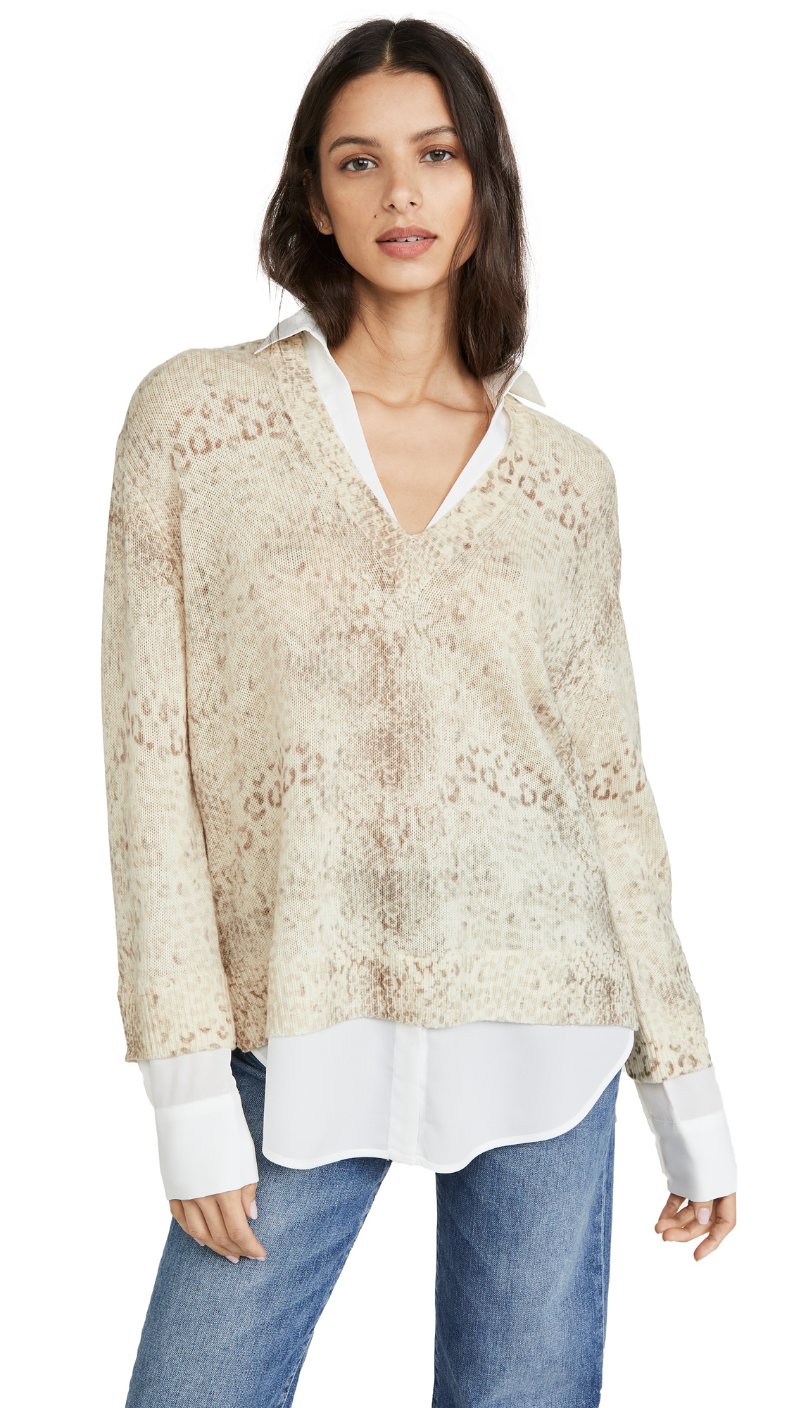 Buy Brochu Walker online - photo of Brochu Walker Printed Layer V Neck Sweater