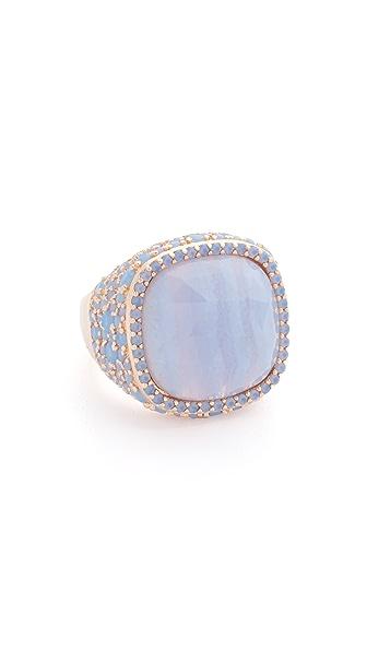 Bronzallure Shiny Grad Ring - Rose Gold/Blue Agate/Blue Opal