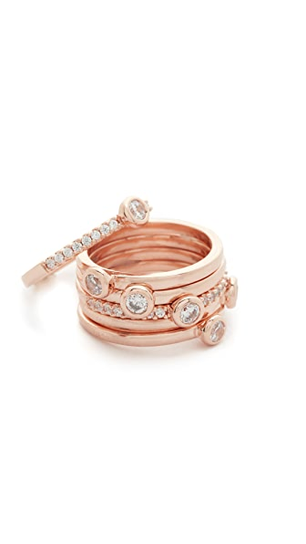 Bronzallure Purezza Solitaire 6 Stacking Rings - Rose Gold