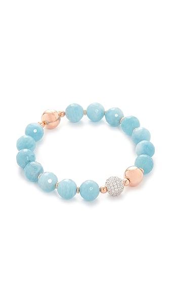 Bronzallure Variegata Shiny Bead Bracelet In Rose Gold/Blue
