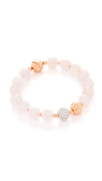Bronzallure Variegata Shiny Bead Bracelet - Rose Gold/Pink