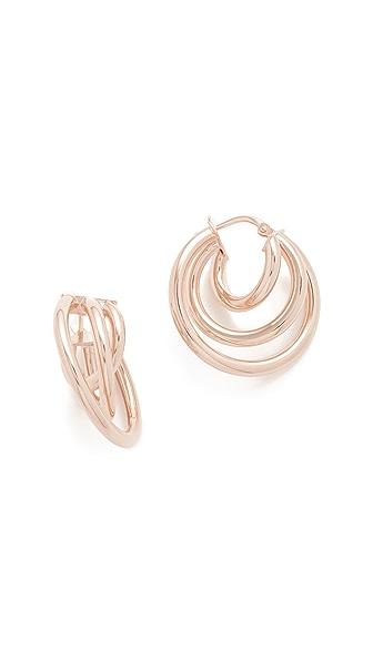 Bronzallure Elliptica Triple Hoop Earrings - Rose Gold