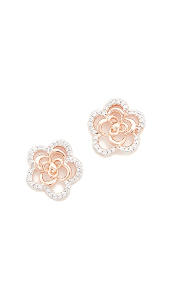 Bronzallure Alba Flower Earrings In Rose Gold/Cz