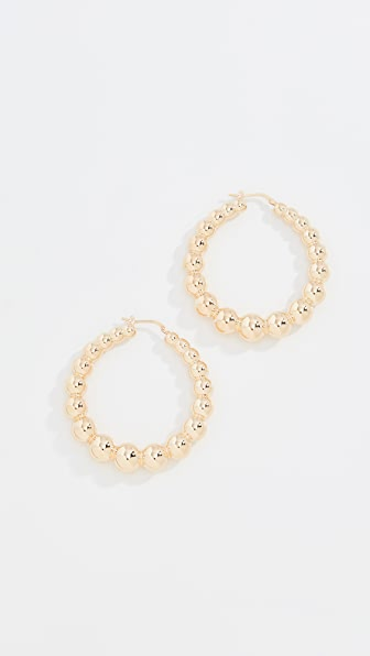 BRONZALLURE Polished Ball Hoops in Gold