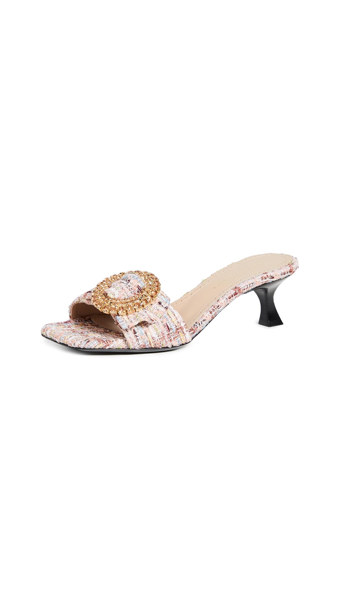 Brock Collection Boucle Metallic Slides - Light Pink