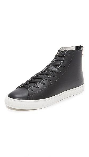 buddy Bull Terrier Black Leather High Top Zip Sneakers