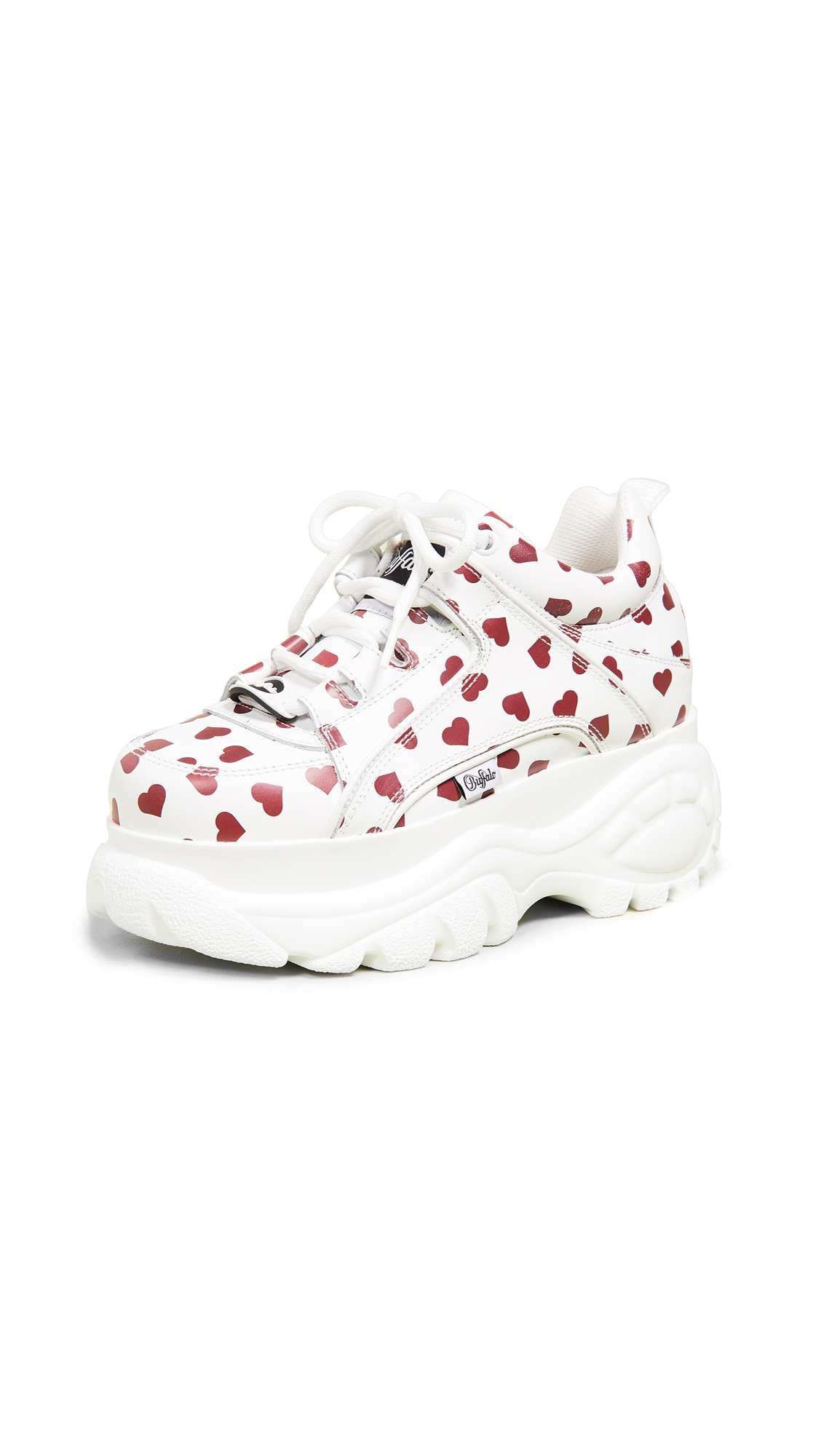 Buffalo London Classic Kicks Sneakers - White/Red Hearts