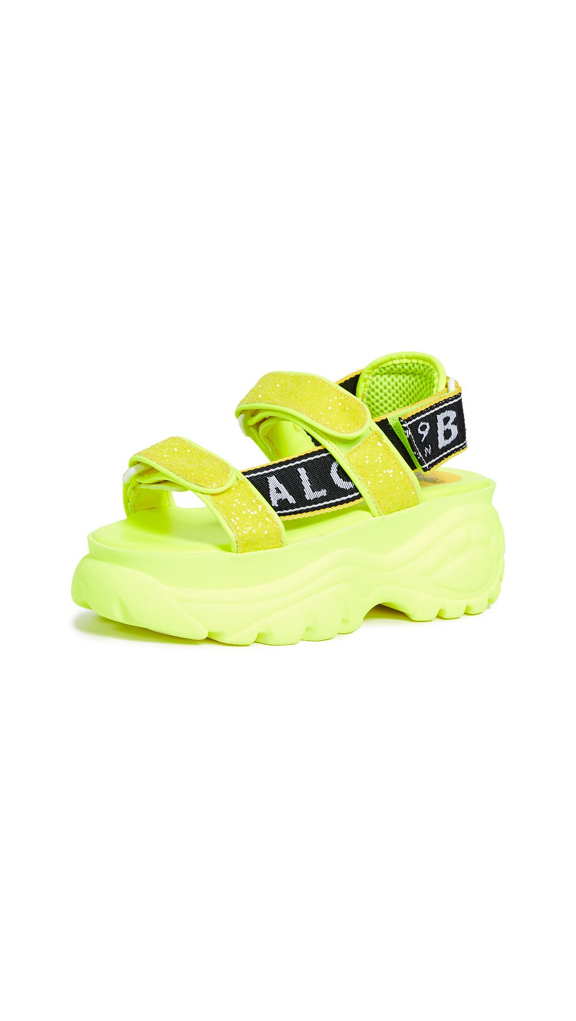Buffalo London Ella Classic Kicks Sandals - Neon Yellow