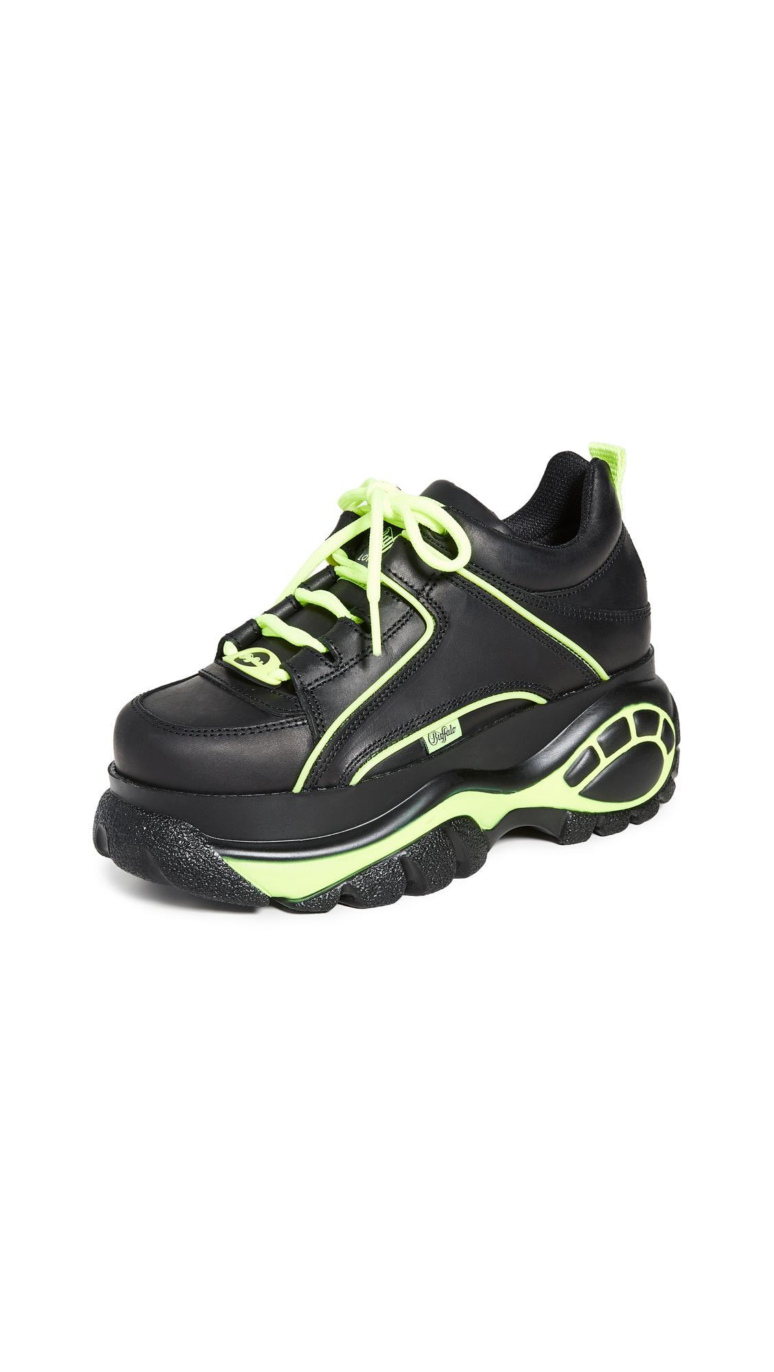 Buffalo London Classic Sneakers - Black/Neon Yellow